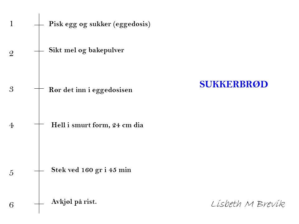 Lisbeth M Brevik 1 2 3 4 SUKKERBRØD 5 6 Pisk egg og sukker (eggedosis)
