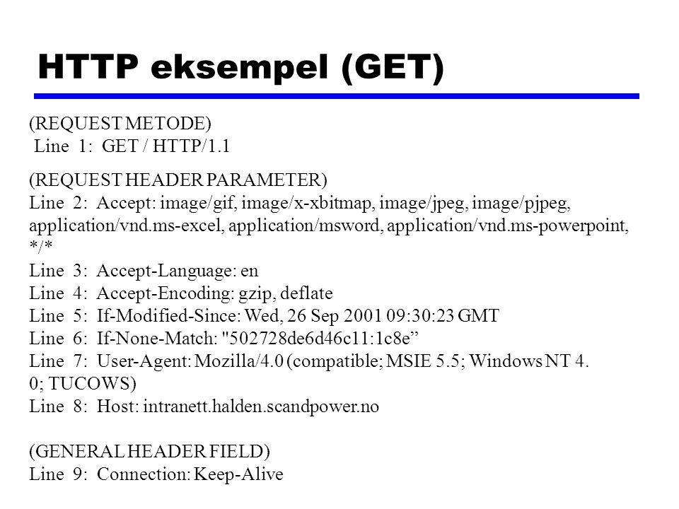HTTP eksempel (GET) (REQUEST METODE) Line 1: GET / HTTP/1.1