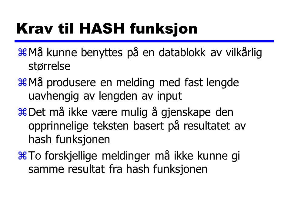 Krav til HASH funksjon Må kunne benyttes på en datablokk av vilkårlig størrelse.