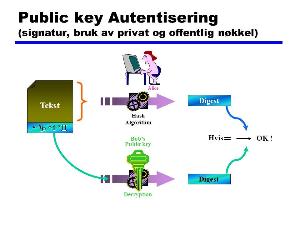 Public key Autentisering (signatur, bruk av privat og offentlig nøkkel)
