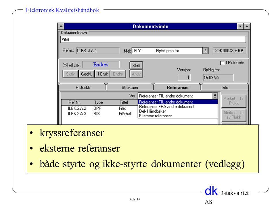 kryssreferanser eksterne referanser både styrte og ikke-styrte dokumenter (vedlegg)