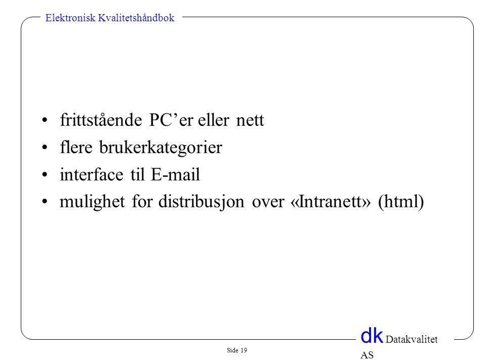 frittstående PC'er eller nett