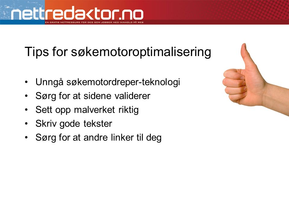 Tips for søkemotoroptimalisering