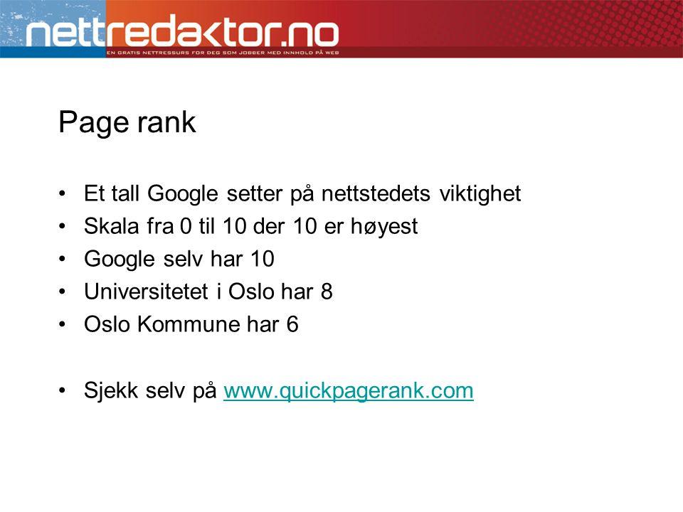 Page rank Et tall Google setter på nettstedets viktighet