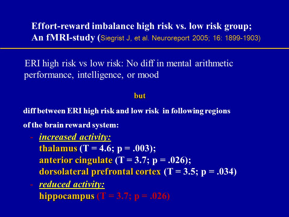 but Effort-reward imbalance high risk vs. low risk group;