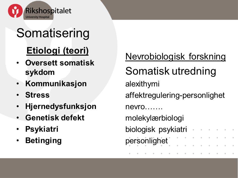 Somatisering Somatisk utredning Etiologi (teori)