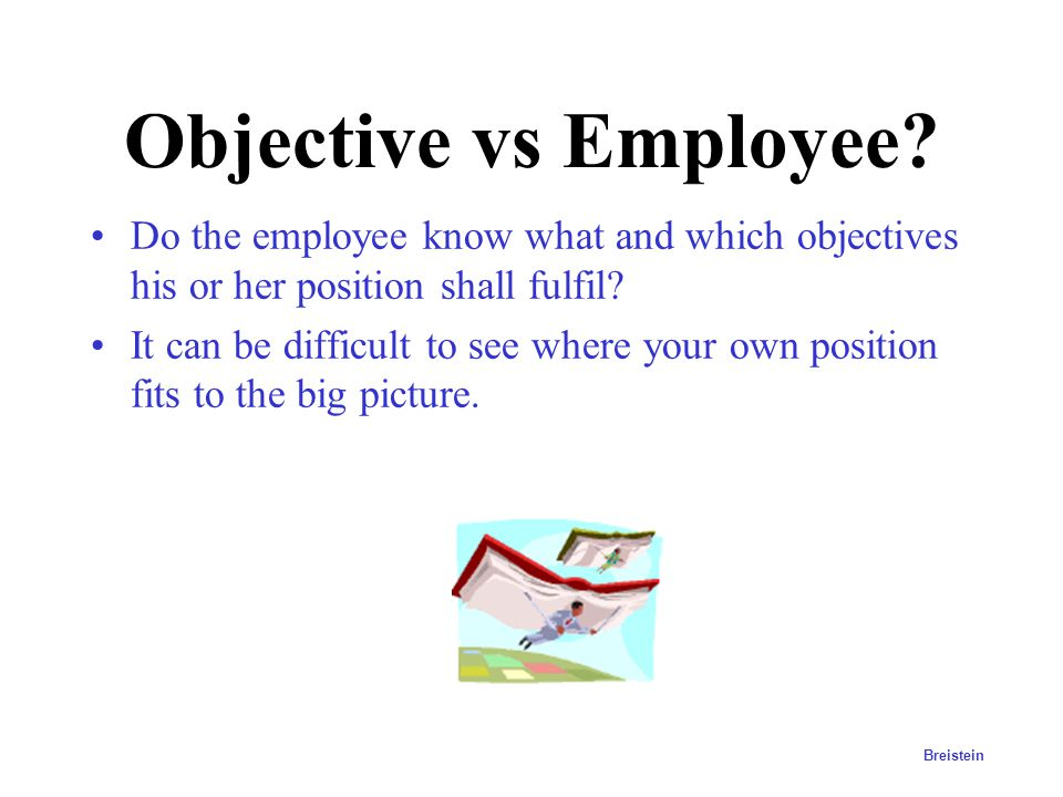 Objective vs Employee Do the employee know what and which objectives his or her position shall fulfil