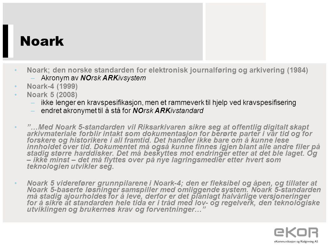 Noark Noark; den norske standarden for elektronisk journalføring og arkivering (1984) Akronym av NOrsk ARKivsystem.