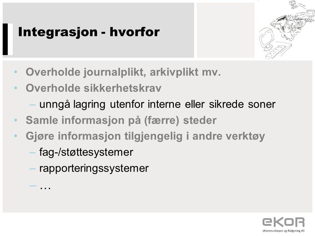 Integrasjon - hvorfor … Overholde journalplikt, arkivplikt mv.