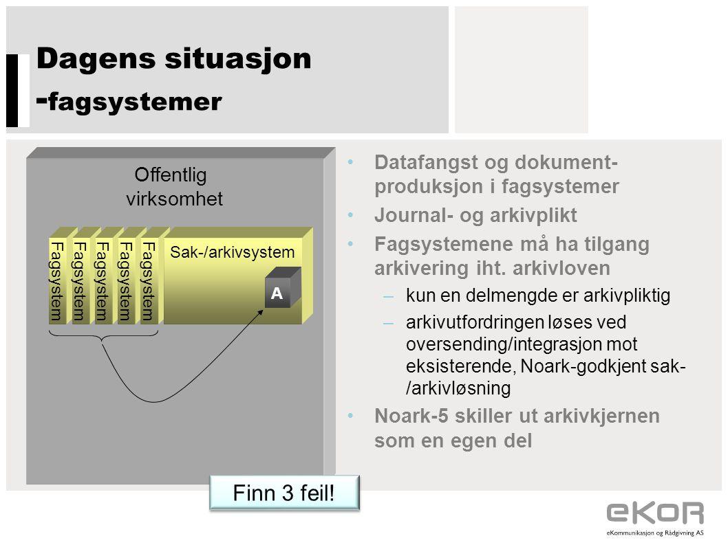 Dagens situasjon -fagsystemer