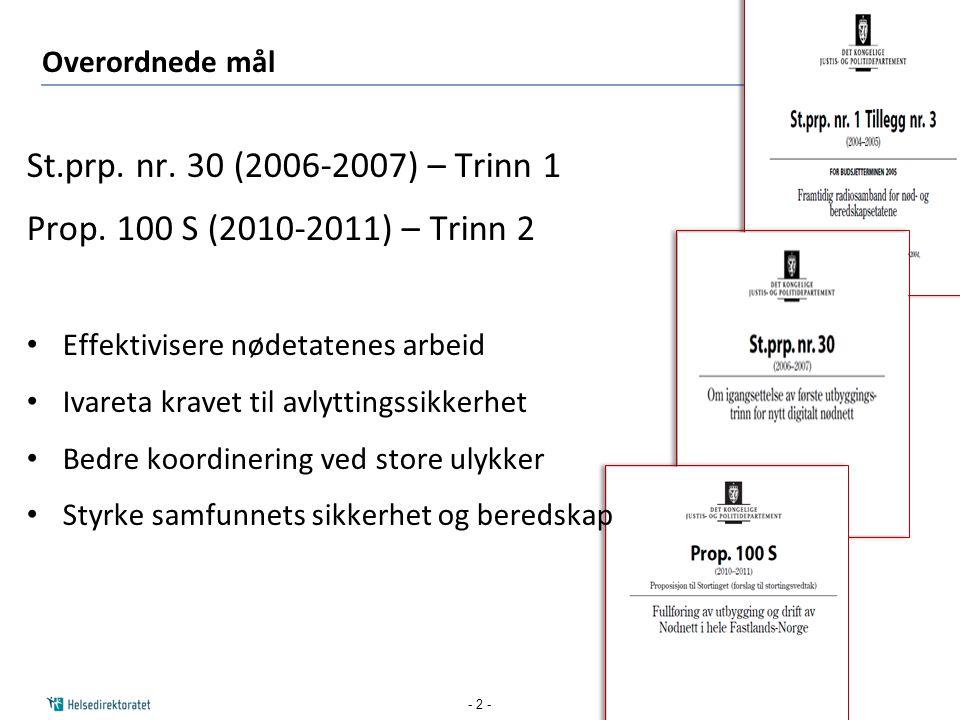 St.prp. nr. 30 (2006-2007) – Trinn 1 Prop. 100 S (2010-2011) – Trinn 2