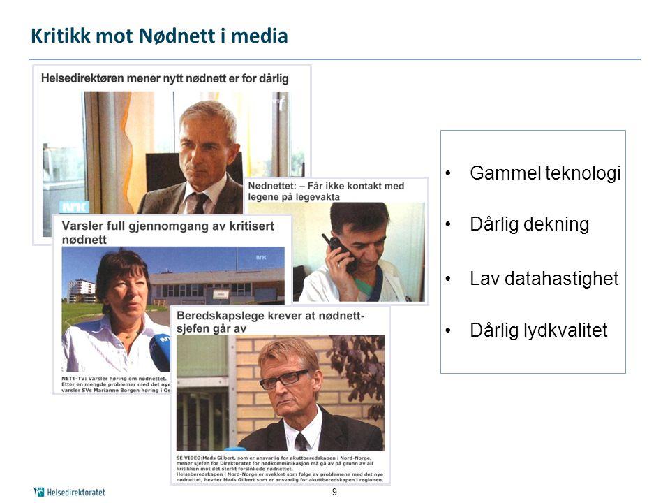 Kritikk mot Nødnett i media