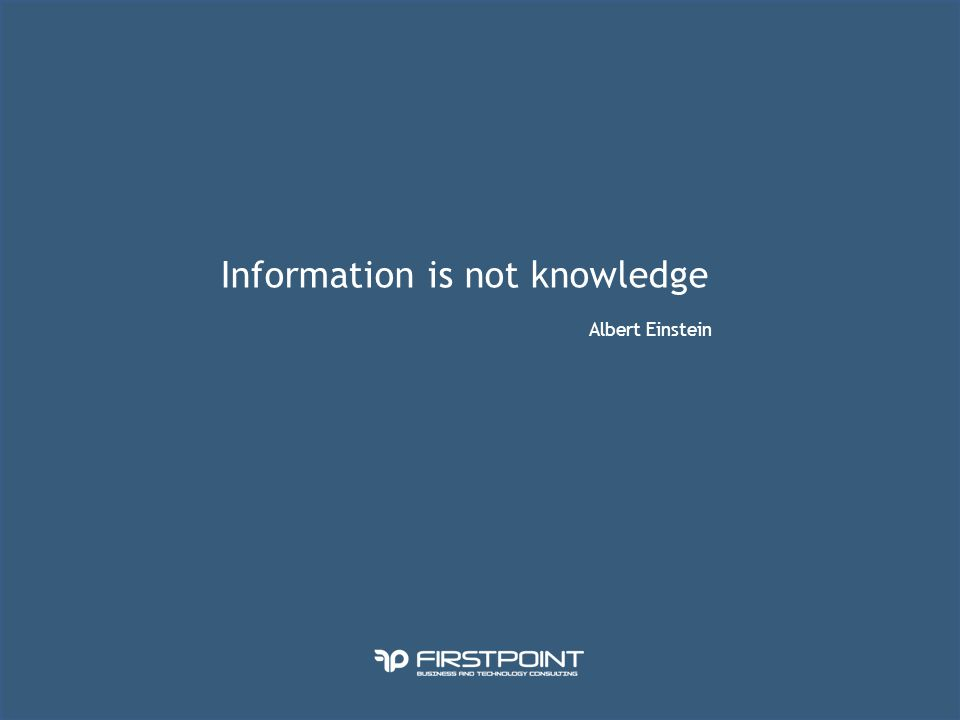 Information is not knowledge