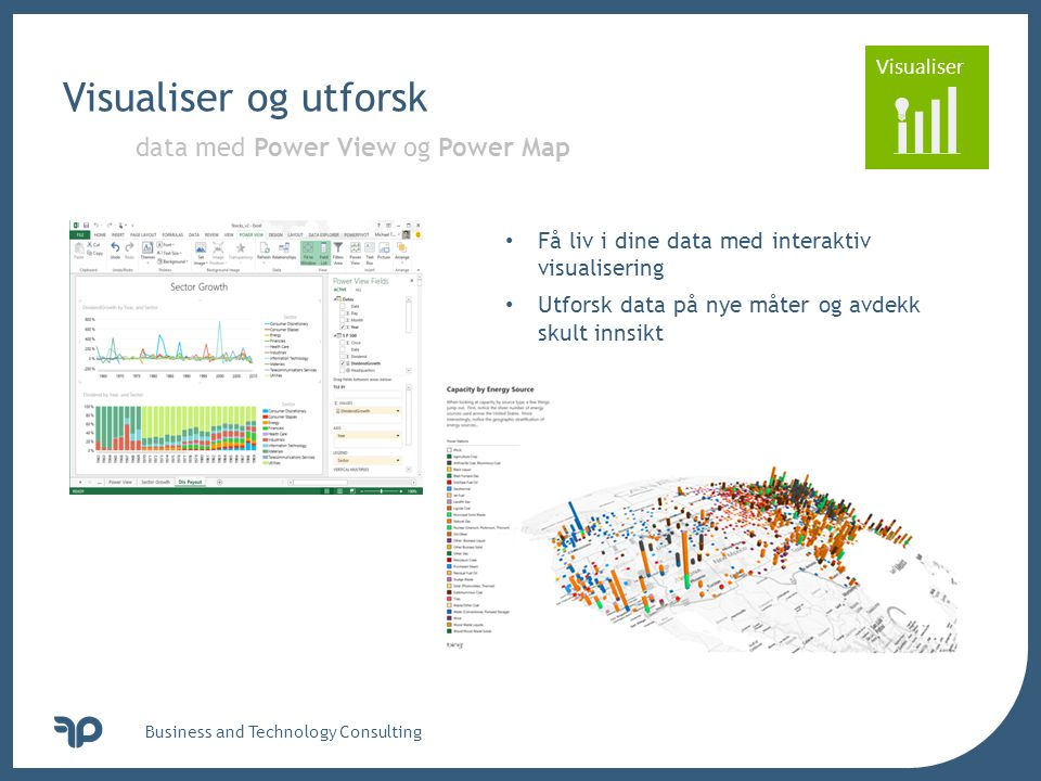 Visualiser og utforsk data med Power View og Power Map
