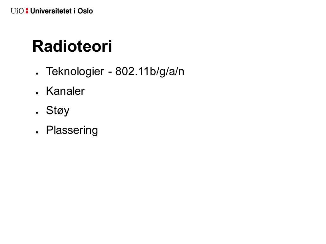 Radioteori Teknologier - 802.11b/g/a/n Kanaler Støy Plassering