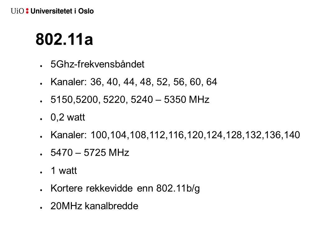 802.11a 5Ghz-frekvensbåndet Kanaler: 36, 40, 44, 48, 52, 56, 60, 64