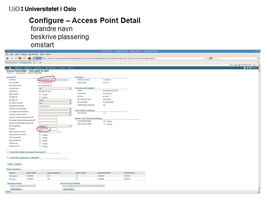 Configure – Access Point Detail forandre navn beskrive plassering omstart