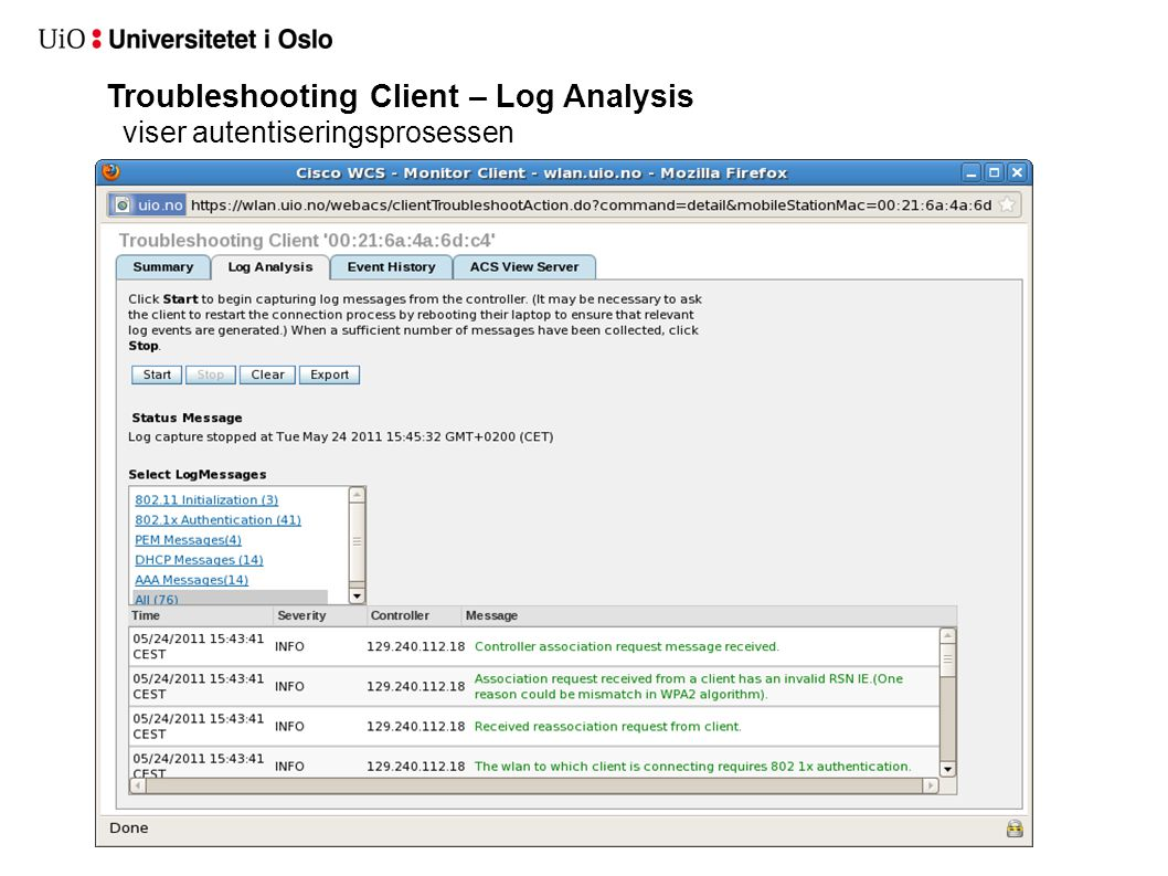 Troubleshooting Client – Log Analysis viser autentiseringsprosessen
