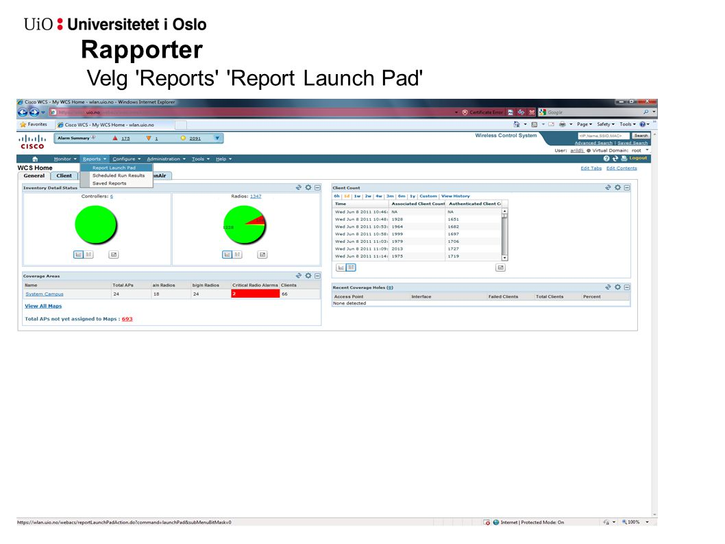 Rapporter Velg Reports Report Launch Pad