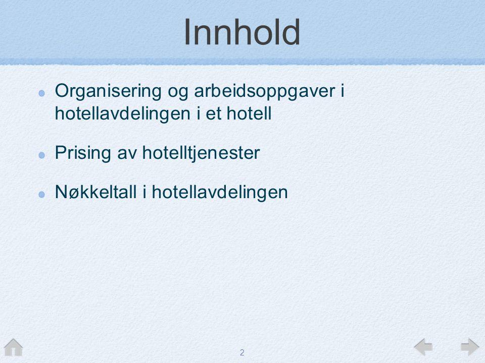 Innhold Organisering og arbeidsoppgaver i hotellavdelingen i et hotell