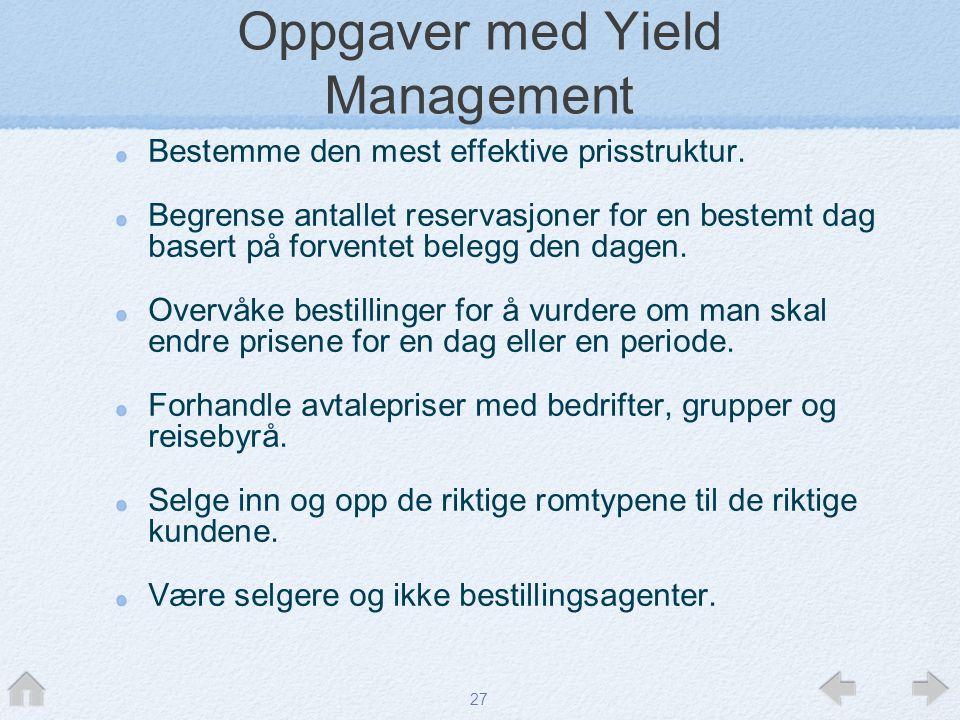 Oppgaver med Yield Management