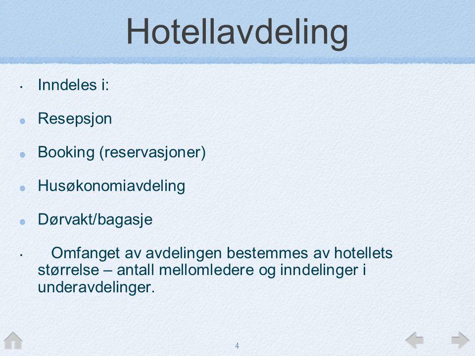 Hotellavdeling Inndeles i: Resepsjon Booking (reservasjoner)
