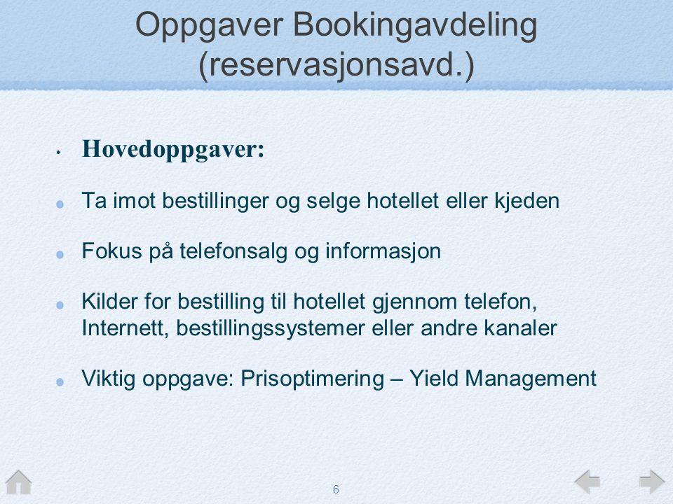 Oppgaver Bookingavdeling (reservasjonsavd.)