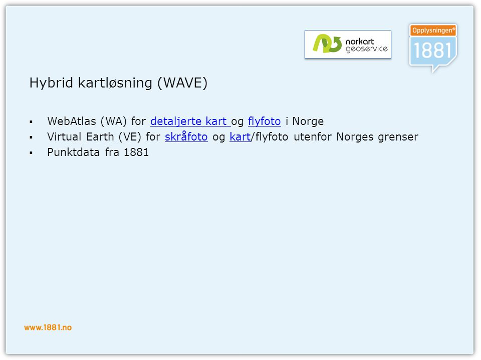 Hybrid kartløsning (WAVE)