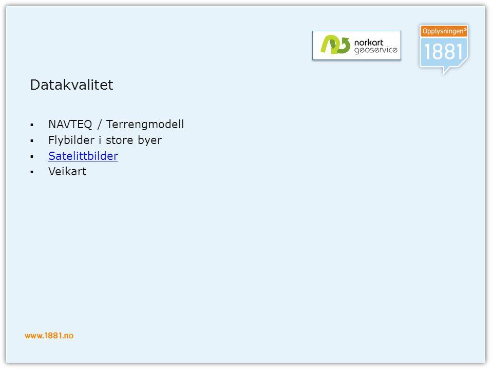 Datakvalitet NAVTEQ / Terrengmodell Flybilder i store byer