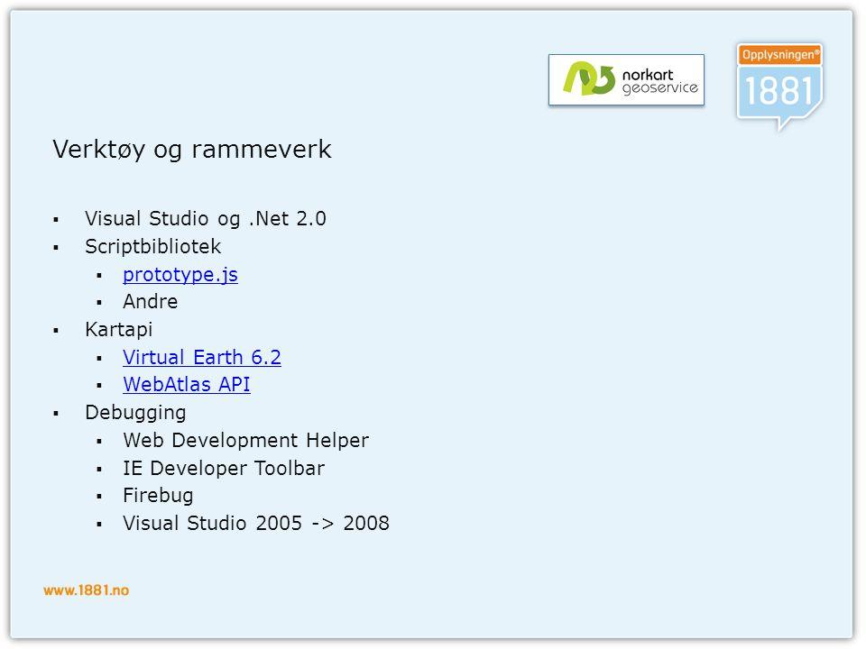 Verktøy og rammeverk Visual Studio og .Net 2.0 Scriptbibliotek