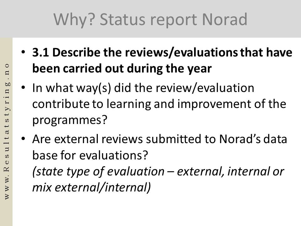 Why Status report Norad