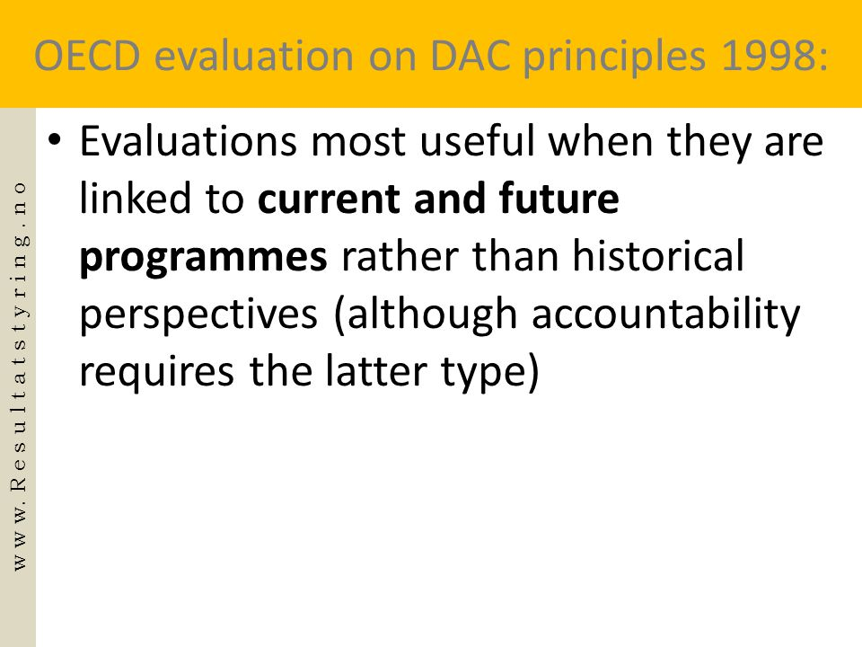 OECD evaluation on DAC principles 1998: