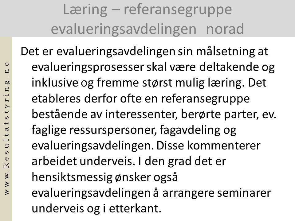 Læring – referansegruppe evalueringsavdelingen norad