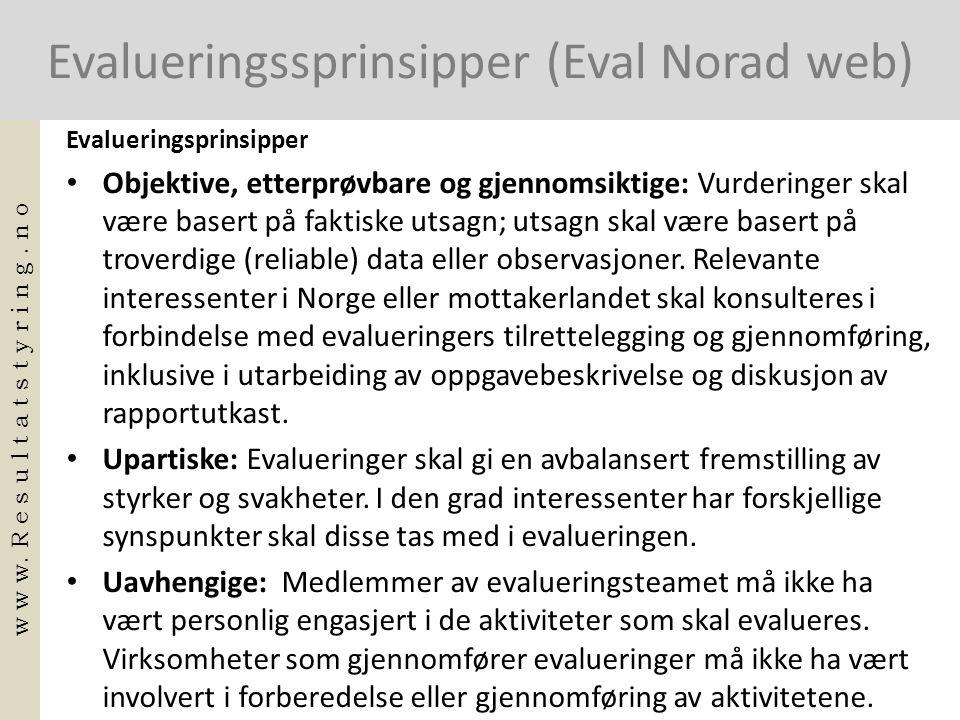 Evalueringssprinsipper (Eval Norad web)