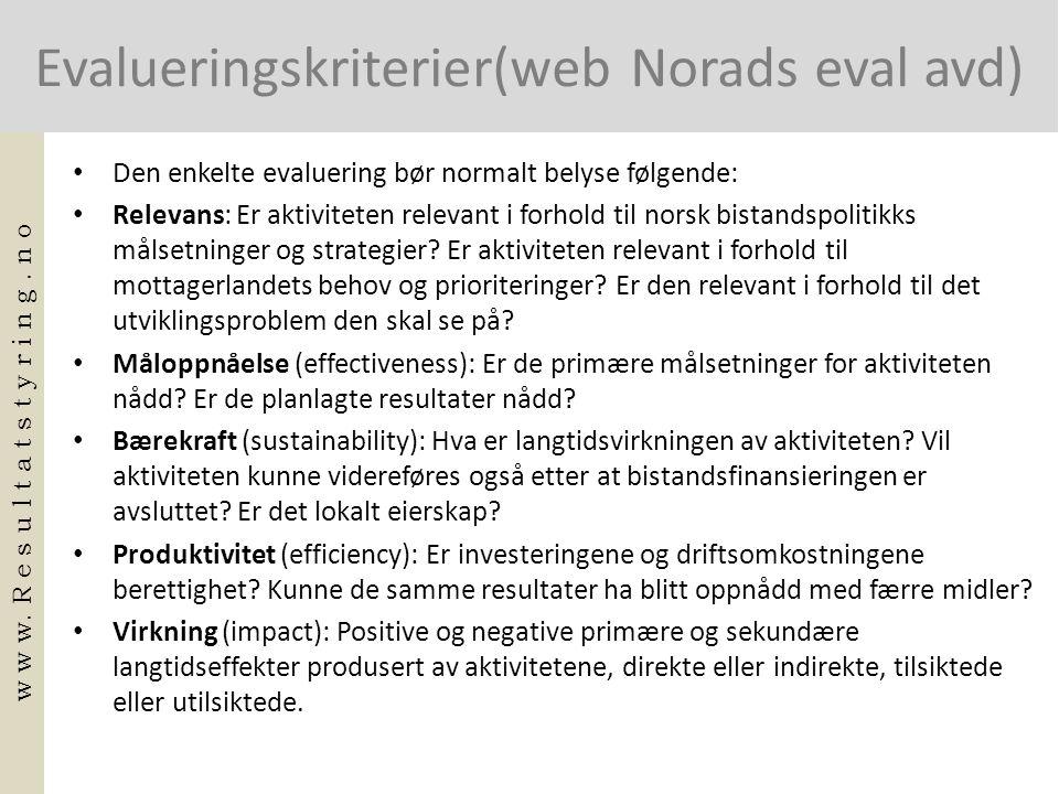 Evalueringskriterier(web Norads eval avd)