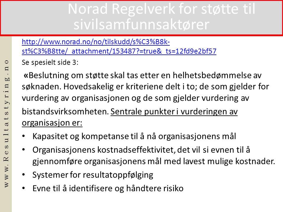Norad Regelverk for støtte til sivilsamfunnsaktører
