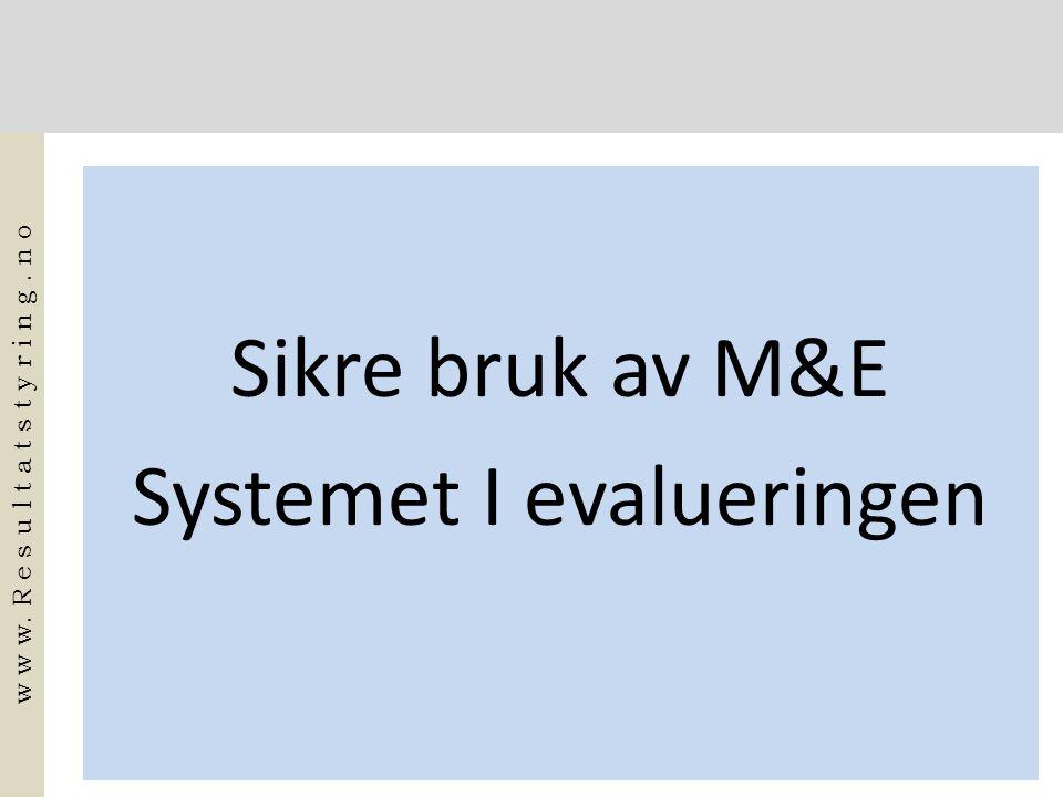 Sikre bruk av M&E Systemet I evalueringen