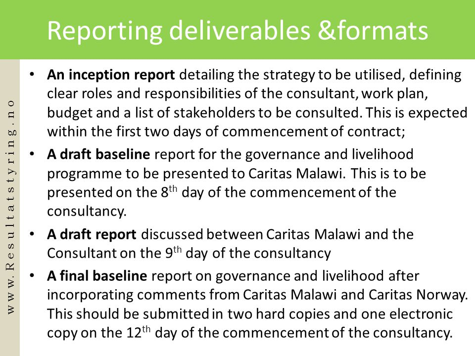 Reporting deliverables &formats