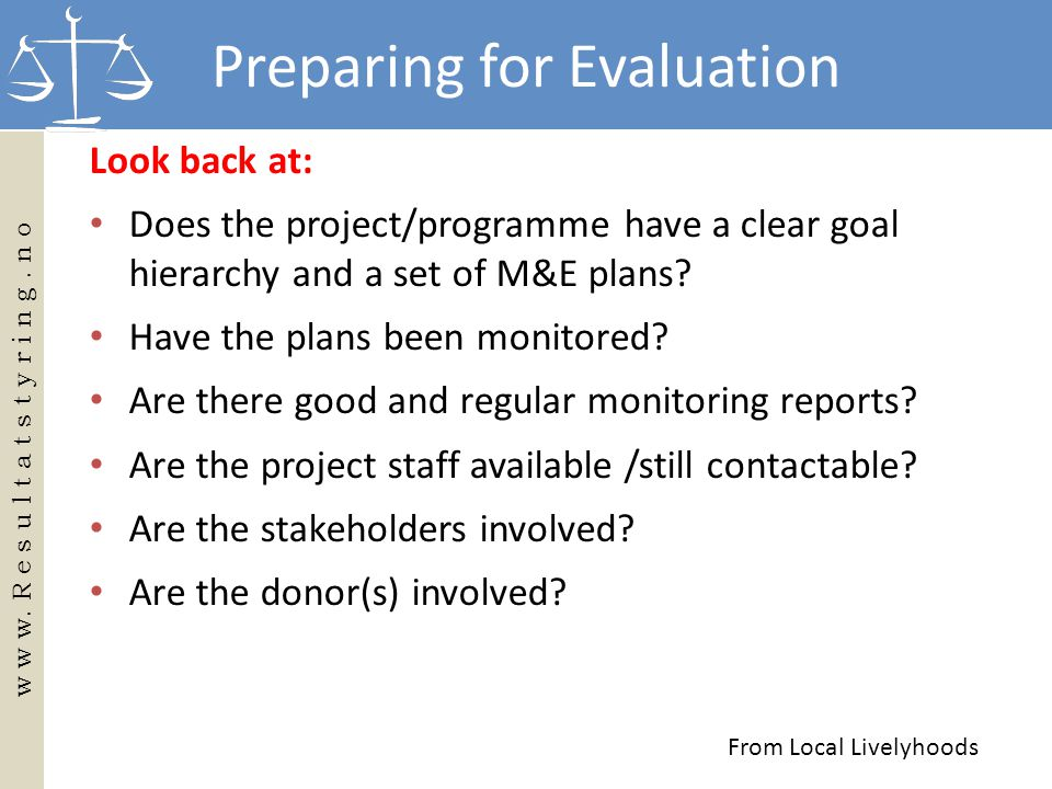 Preparing for Evaluation