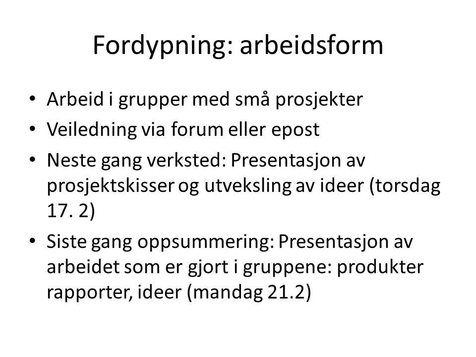 Fordypning: arbeidsform