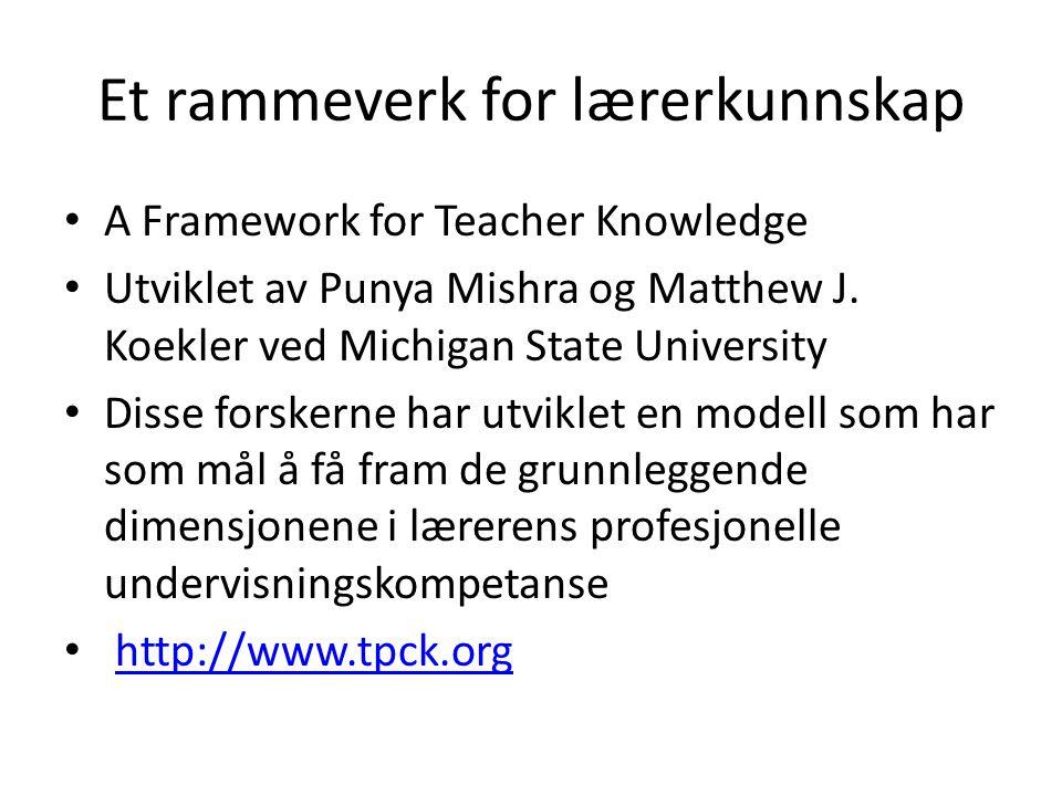 Et rammeverk for lærerkunnskap