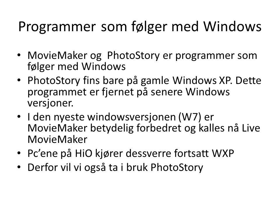 Programmer som følger med Windows