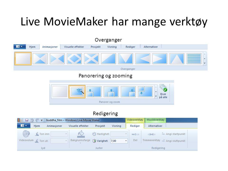 Live MovieMaker har mange verktøy