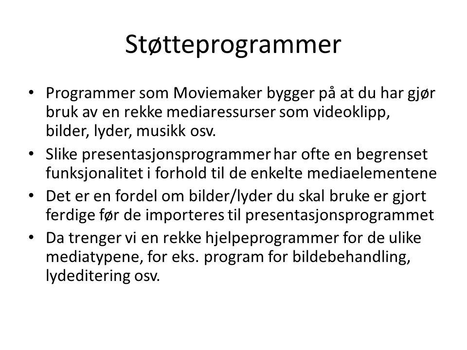 Støtteprogrammer Programmer som Moviemaker bygger på at du har gjør bruk av en rekke mediaressurser som videoklipp, bilder, lyder, musikk osv.