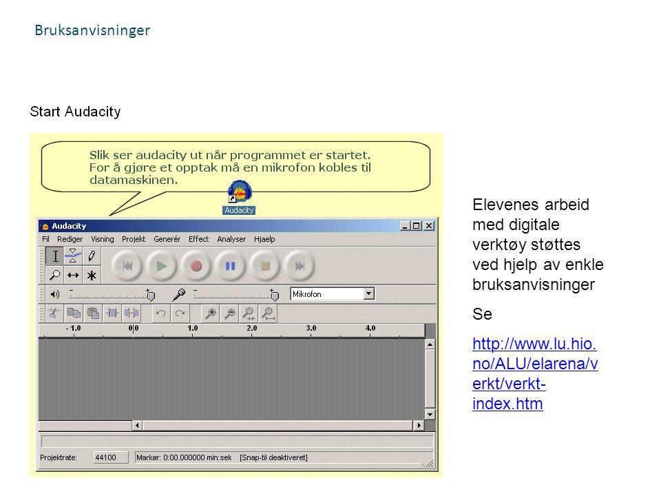 Bruksanvisninger Elevenes arbeid med digitale verktøy støttes ved hjelp av enkle bruksanvisninger.