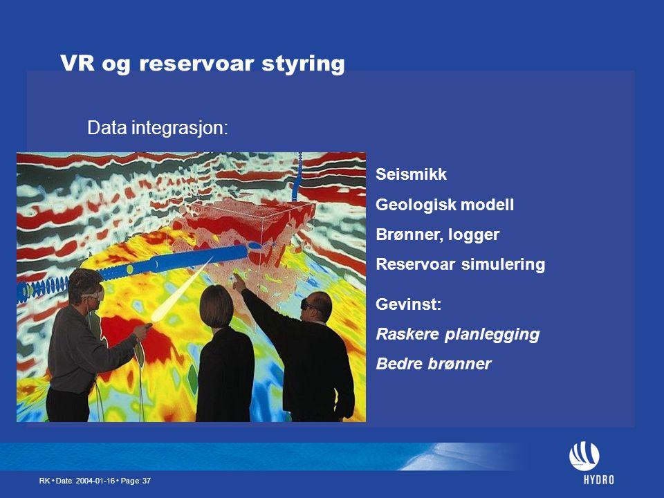 VR og reservoar styring