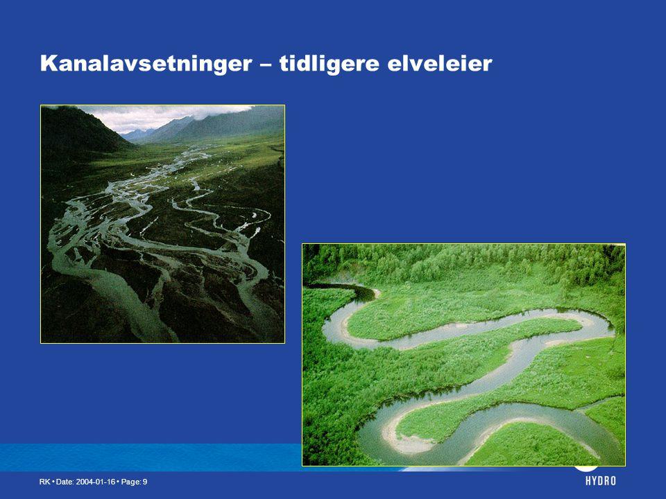 Kanalavsetninger – tidligere elveleier