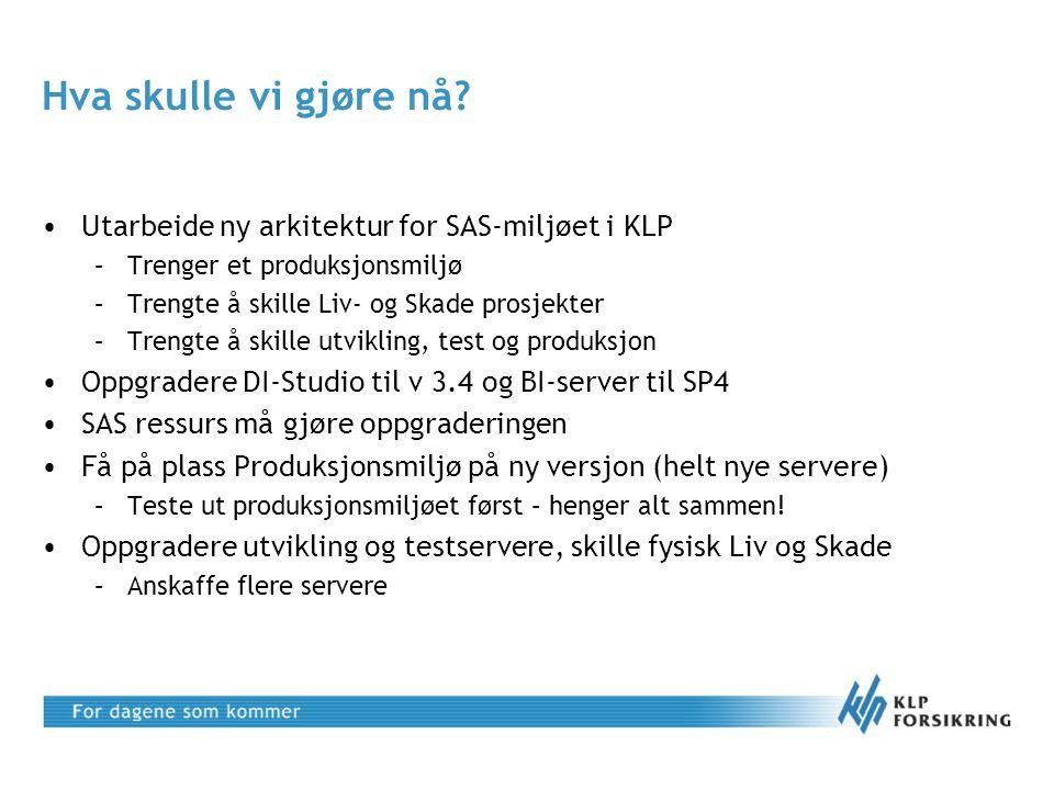 Hva skulle vi gjøre nå Utarbeide ny arkitektur for SAS-miljøet i KLP