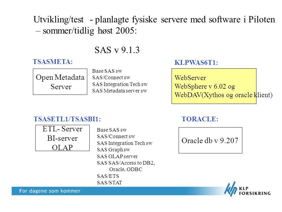 Utvikling/test - planlagte fysiske servere med software i Piloten