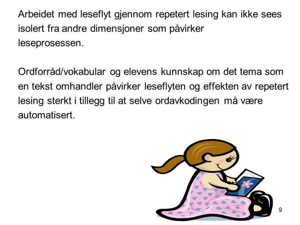 Arbeidet med leseflyt gjennom repetert lesing kan ikke sees